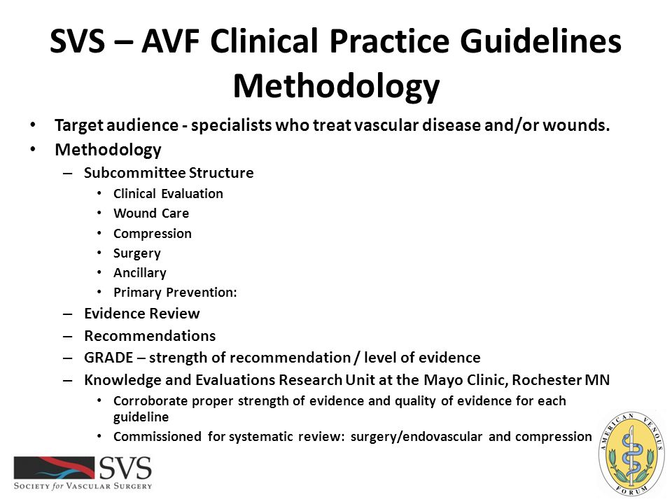SVS – AVF Clinical Practice Guidelines Wound Care – Adjuvant Therapy Guideline 4.18: Indications for Adjuvant Therapies We recommend adjuvant wound therapy options for venous leg ulcers that fail to demonstrate improvement after a minimum of 4-6 weeks standard wound therapy.