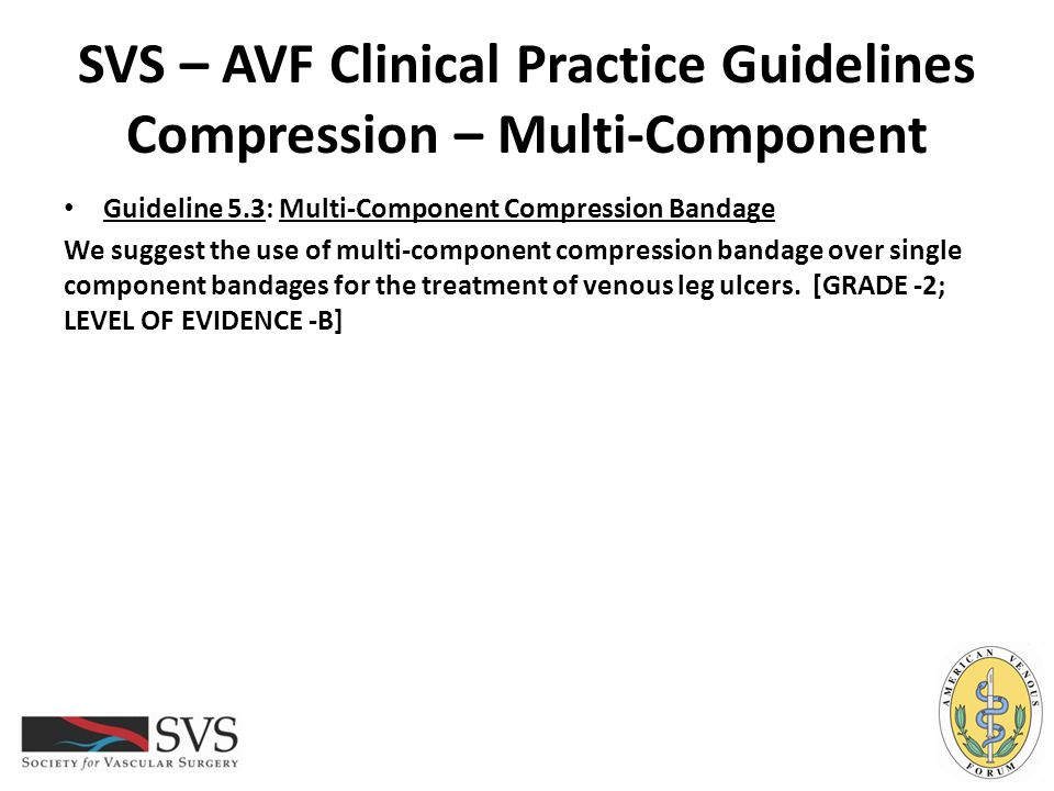 SVS – AVF Clinical Practice Guidelines Compression – Multi-Component Guideline 5.3: Multi-Component Compression Bandage We suggest the use of multi-co