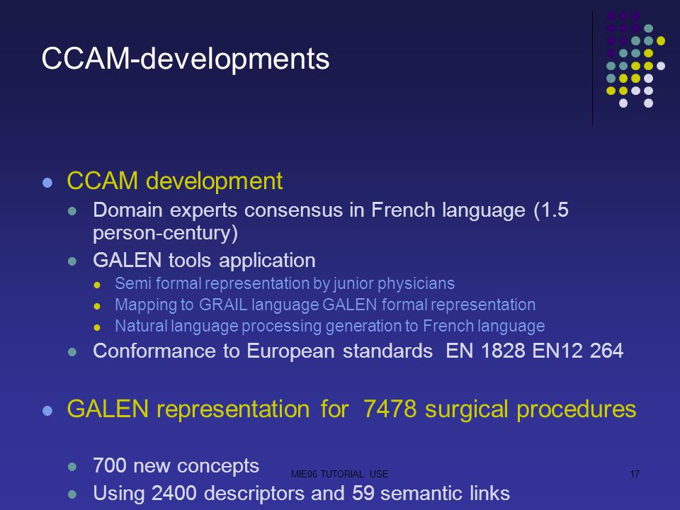 MIE06 TUTORIAL USE17 CCAM-developments CCAM development Domain experts consensus in French language (1.5 person-century) GALEN tools application Semi formal representation by junior physicians Mapping to GRAIL language GALEN formal representation Natural language processing generation to French language Conformance to European standards EN 1828 EN12 264 GALEN representation for 7478 surgical procedures 700 new concepts Using 2400 descriptors and 59 semantic links