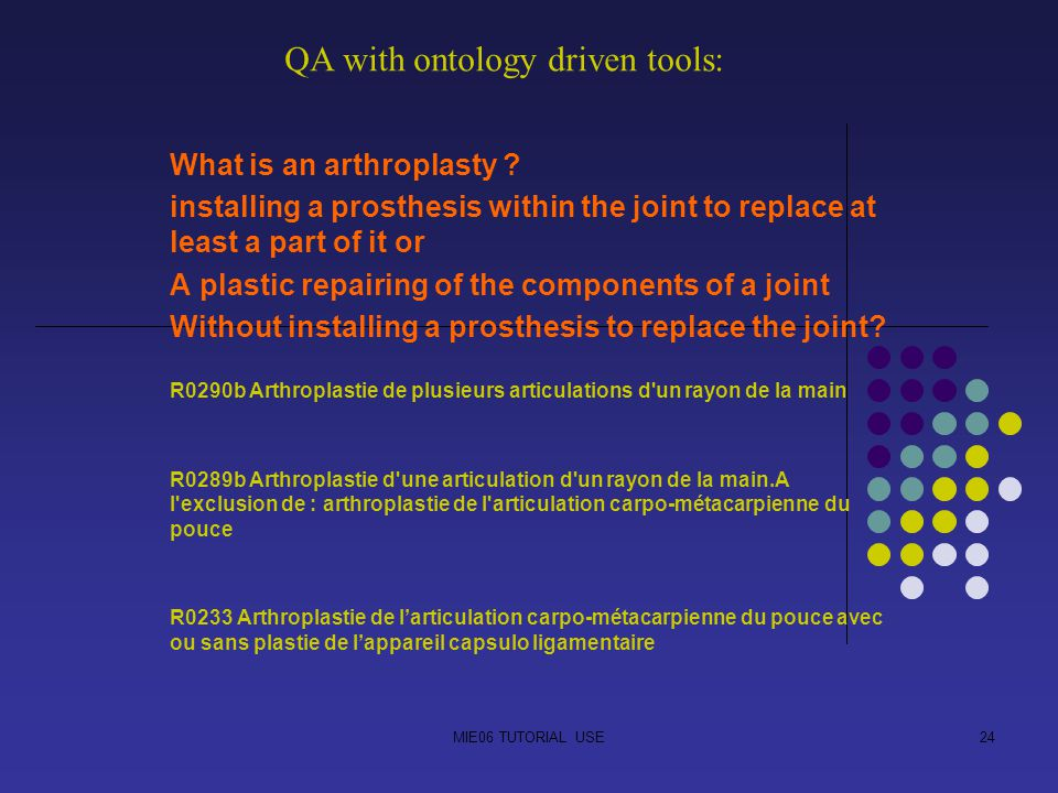 MIE06 TUTORIAL USE24 What is an arthroplasty ? installing a prosthesis within the joint to replace at least a part of it or A plastic repairing of the