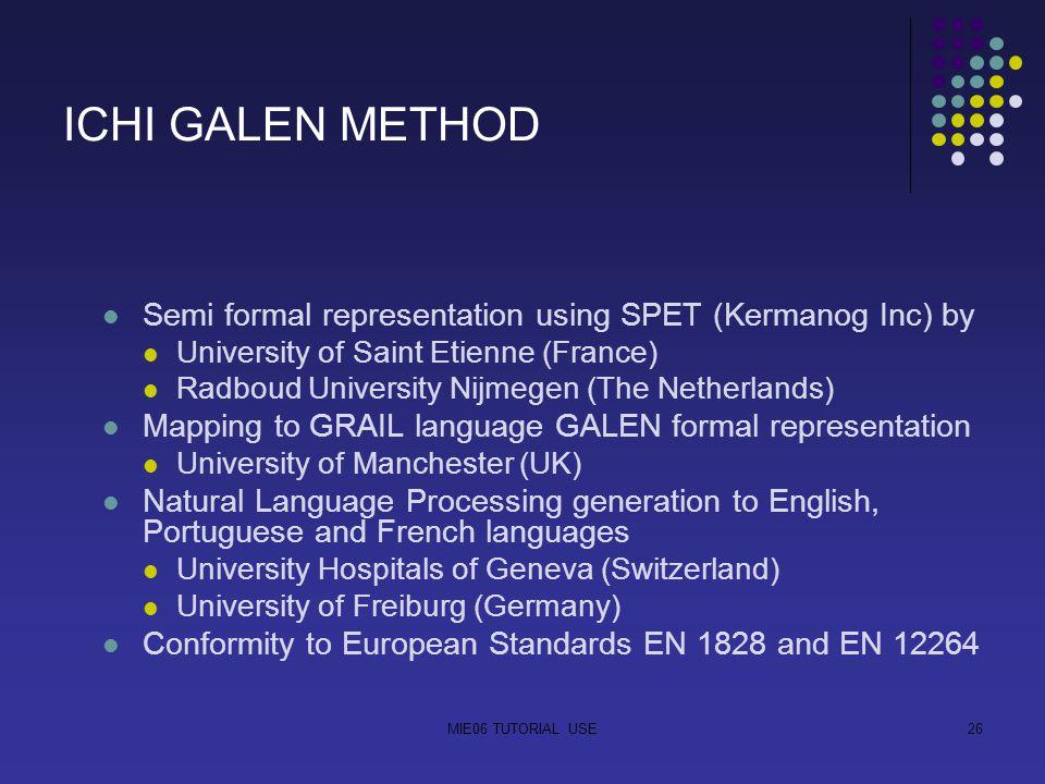 MIE06 TUTORIAL USE26 ICHI GALEN METHOD Semi formal representation using SPET (Kermanog Inc) by University of Saint Etienne (France) Radboud University