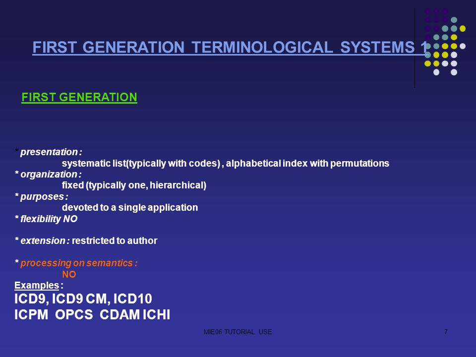 MIE06 TUTORIAL USE7 FIRST GENERATION TERMINOLOGICAL SYSTEMS 1 FIRST GENERATION * presentation : systematic list(typically with codes), alphabetical in