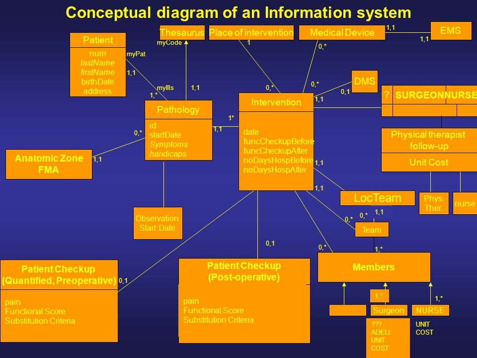 Conceptual diagram of an Information system Place of interventionMedical Device Pathology id startDate Symptoms handicaps Intervention date funcCheckupBefore funcCheckupAfter noDaysHospBefore noDaysHospAfter EMS DMS Patient Checkup (Post-operative) pain Functional Score Substitution Criteria ….