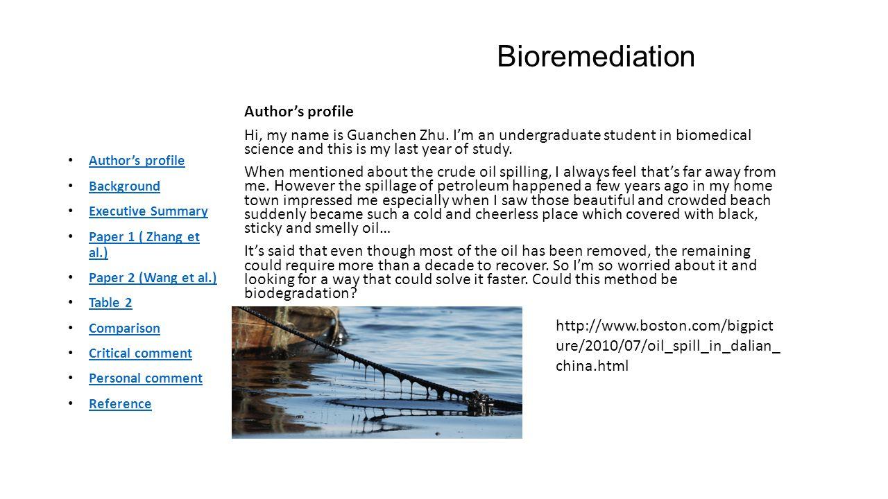 Bioremediation Author's profile Hi, my name is Guanchen Zhu.
