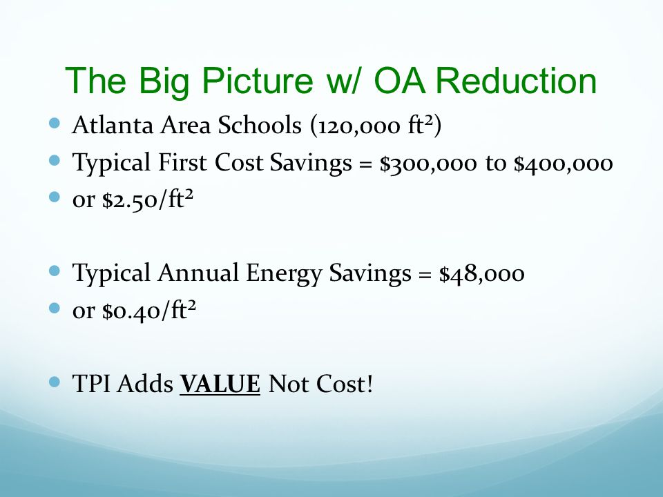 The Big Picture w/ OA Reduction Atlanta Area Schools (120,000 ft²) Typical First Cost Savings = $300,000 to $400,000 or $2.50/ft² Typical Annual Energ