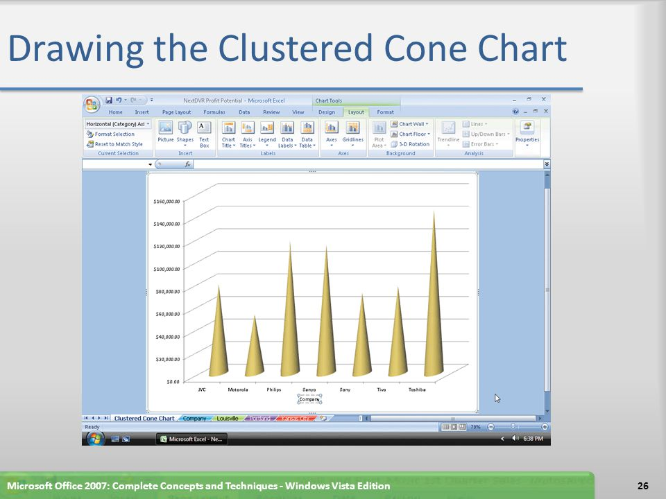 Drawing the Clustered Cone Chart Microsoft Office 2007: Complete Concepts and Techniques - Windows Vista Edition26