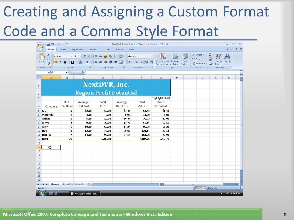 Creating a New Style Click the Cell Styles button on the Home tab on the Ribbon to display the Cell Styles gallery Click the New Cell Style button in the Cell Styles gallery When Excel displays the Style dialog box, type Four-Digit Year as the new style name Click the Format button to display the Format Cells dialog box Microsoft Office 2007: Complete Concepts and Techniques - Windows Vista Edition10