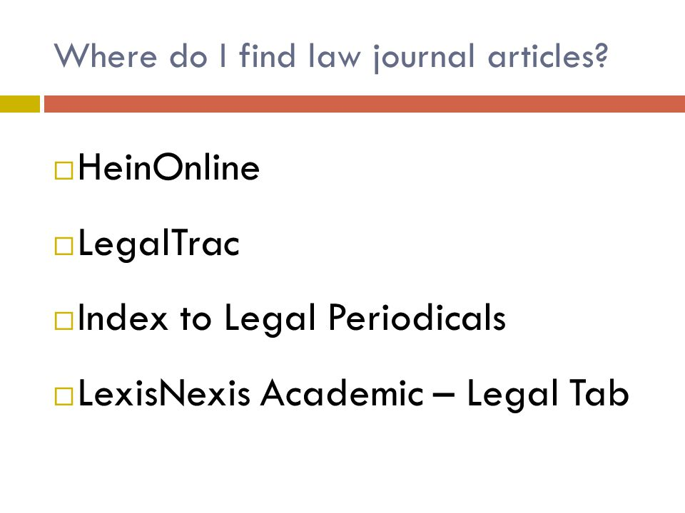 Where do I find law journal articles.