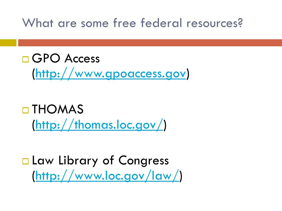What are some free federal resources.