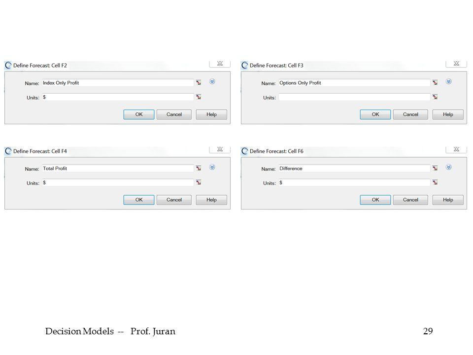 Decision Models -- Prof. Juran29