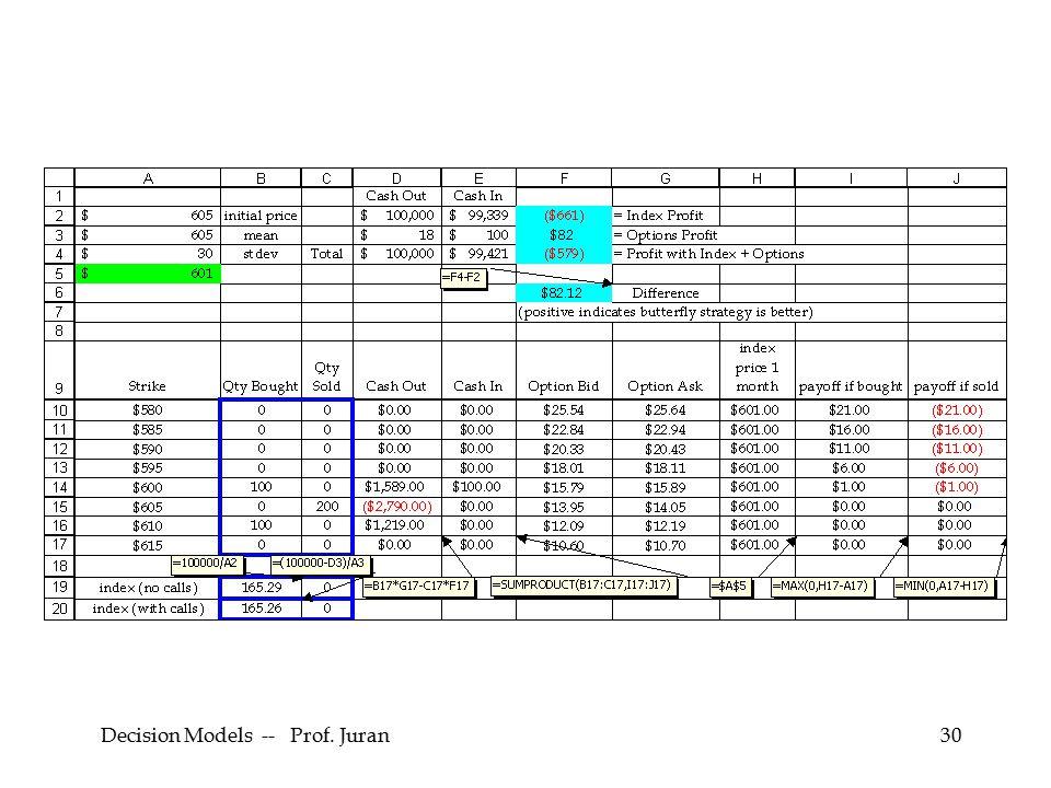 Decision Models -- Prof. Juran30