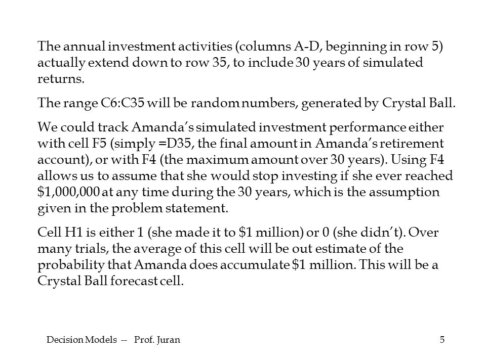 5 The annual investment activities (columns A-D, beginning in row 5) actually extend down to row 35, to include 30 years of simulated returns.