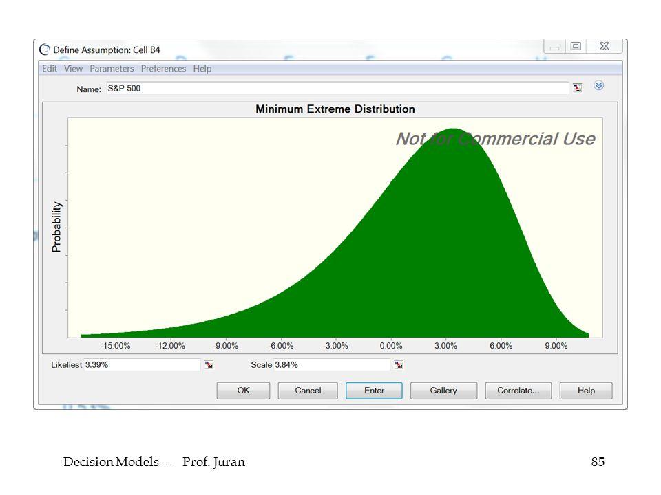 Decision Models -- Prof. Juran85