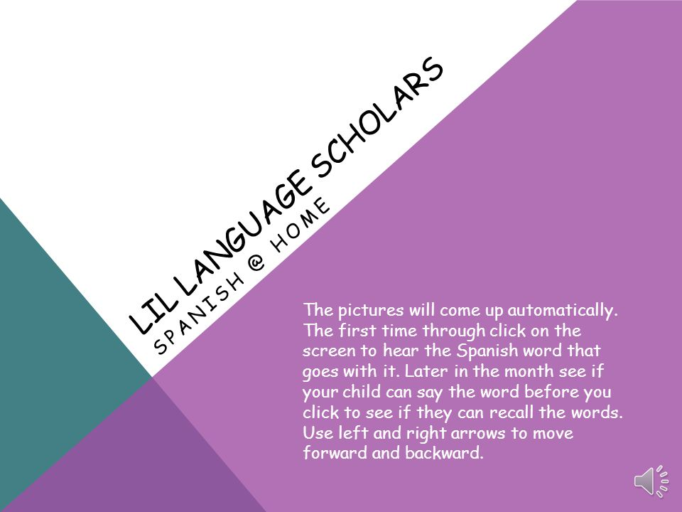 LIL LANGUAGE SCHOLARS SPANISH @ HOME The pictures will come up automatically.