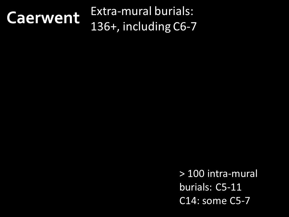 Caerwent Extra-mural burials: 136+, including C6-7 > 100 intra-mural burials: C5-11 C14: some C5-7
