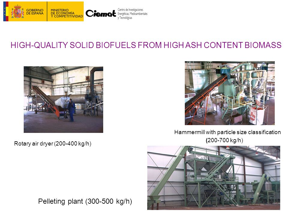 Hammermill with particle size classification (200-700 kg/h) Rotary air dryer (200-400 kg/h) HIGH-QUALITY SOLID BIOFUELS FROM HIGH ASH CONTENT BIOMASS Pelleting plant (300-500 kg/h)