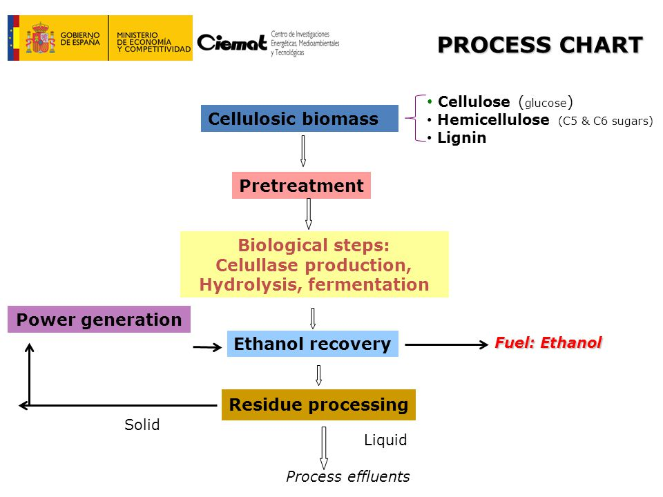 Power generation PROCESS CHART Cellulose ( glucose ) Hemicellulose (C5 & C6 sugars) Lignin Cellulosic biomass Pretreatment Biological steps: Celullase production, Hydrolysis, fermentation Ethanol recovery Residue processing Process effluents Fuel: Ethanol Solid Liquid