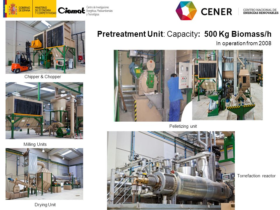 Pretreatment Unit: Capacity: 500 Kg Biomass/h In operation from 2008 Chipper & Chopper Drying Unit Milling Units Torrefaction reactor Pelletizing unit