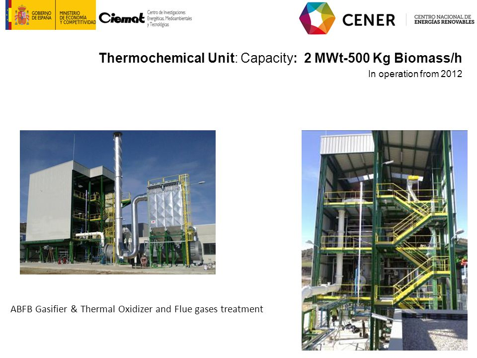 ABFB Gasifier & Thermal Oxidizer and Flue gases treatment Thermochemical Unit: Capacity: 2 MWt-500 Kg Biomass/h In operation from 2012