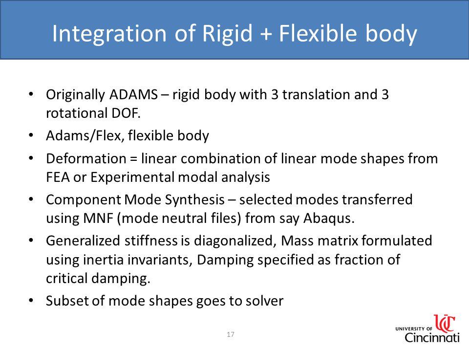 Integration of Rigid + Flexible body Originally ADAMS – rigid body with 3 translation and 3 rotational DOF.
