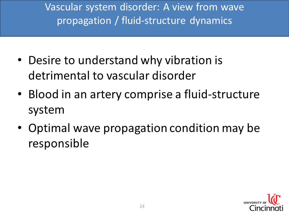 Vascular system disorder: A view from wave propagation / fluid-structure dynamics Desire to understand why vibration is detrimental to vascular disorder Blood in an artery comprise a fluid-structure system Optimal wave propagation condition may be responsible 24