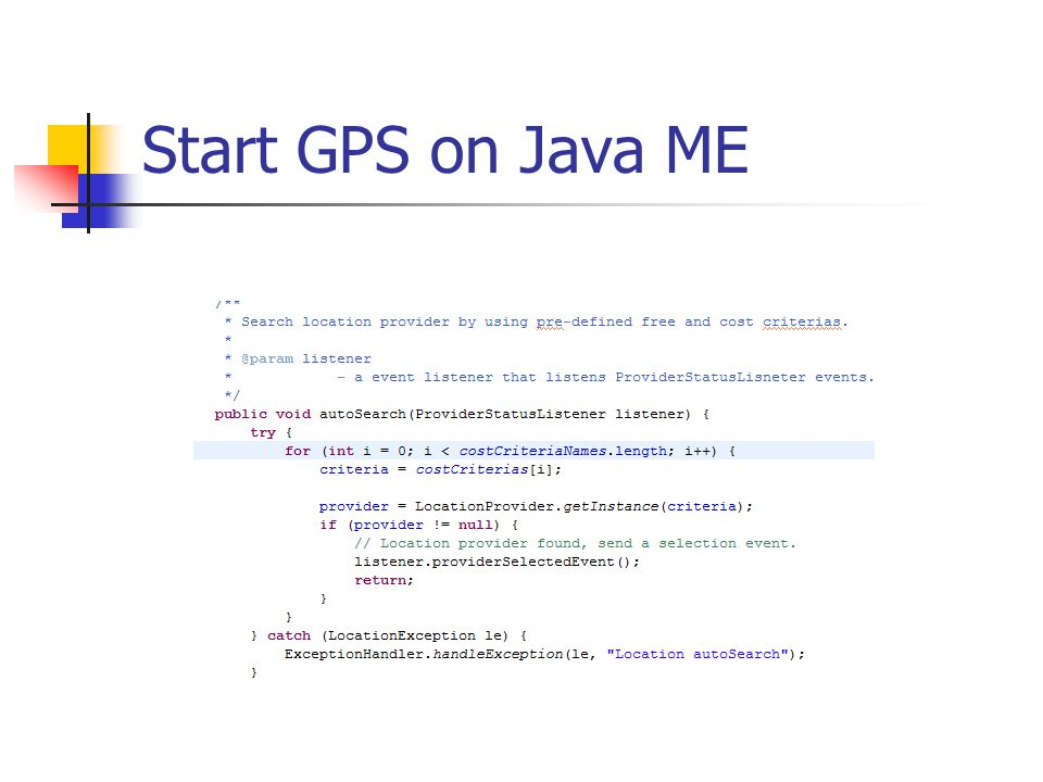 Start GPS on Java ME