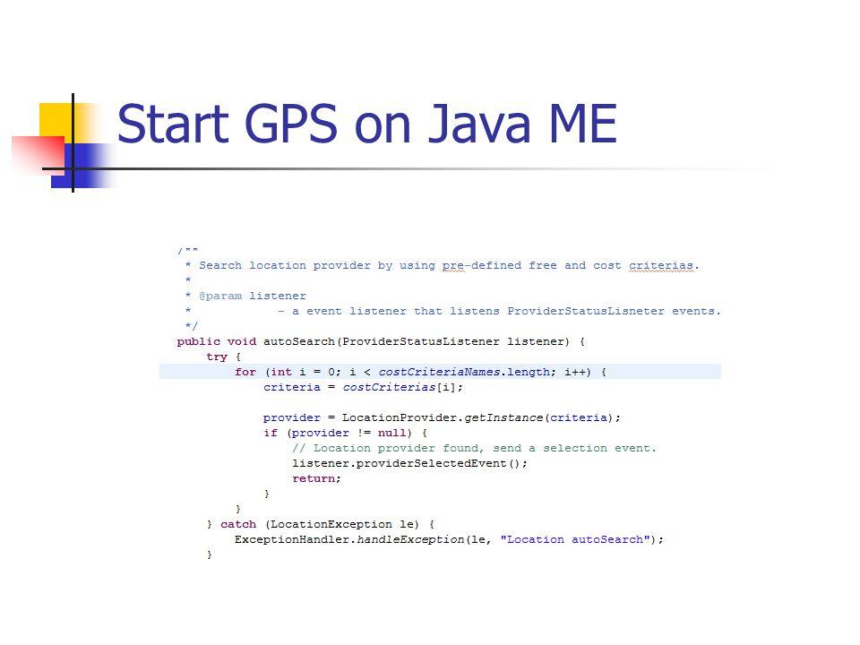 Start GPS on Java ME