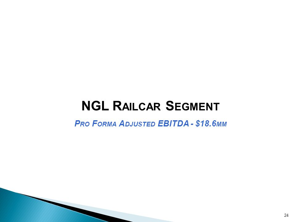 NGL R AILCAR S EGMENT P RO F ORMA A DJUSTED EBITDA - $18.6 MM 24