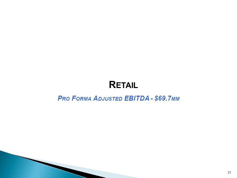 R ETAIL P RO F ORMA A DJUSTED EBITDA - $69.7 MM 31