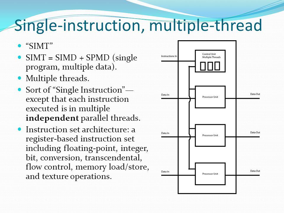 Single-instruction, multiple-thread SIMT SIMT = SIMD + SPMD (single program, multiple data).