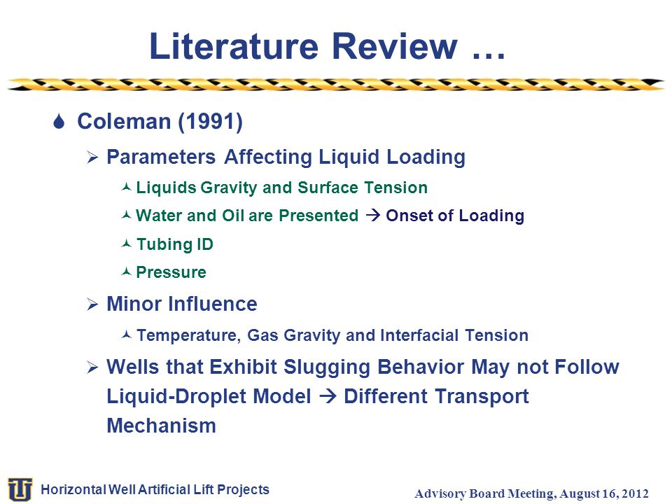 Horizontal Well Artificial Lift Projects Advisory Board Meeting, August 16, 2012 Literature Review …  Coleman (1991)  Parameters Affecting Liquid Lo