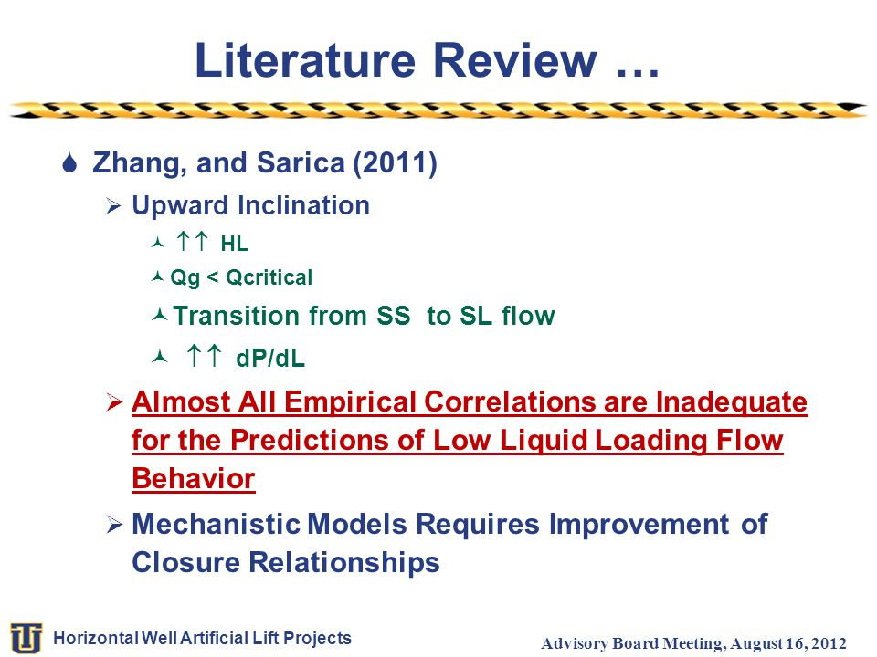 Horizontal Well Artificial Lift Projects Advisory Board Meeting, August 16, 2012 Literature Review …  Zhang, and Sarica (2011)  Upward Inclination 