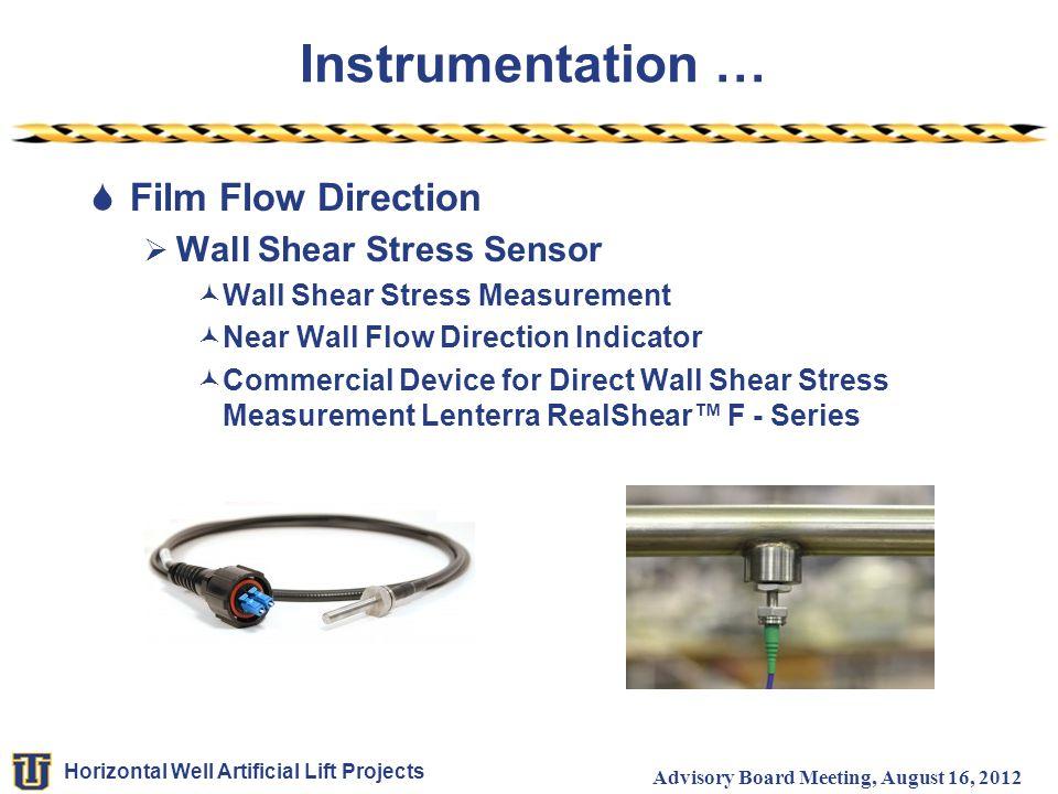 Horizontal Well Artificial Lift Projects Advisory Board Meeting, August 16, 2012 Instrumentation …  Film Flow Direction  Wall Shear Stress Sensor Wa