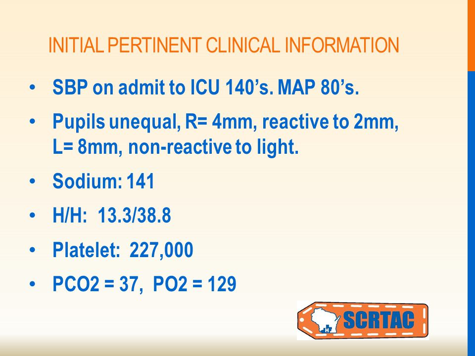 INITIAL PERTINENT CLINICAL INFORMATION SBP on admit to ICU 140's.