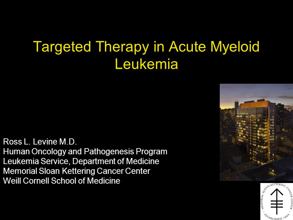 Targeted Therapy in Acute Myeloid Leukemia Ross L. Levine M.D. Human Oncology and Pathogenesis Program Leukemia Service, Department of Medicine Memori