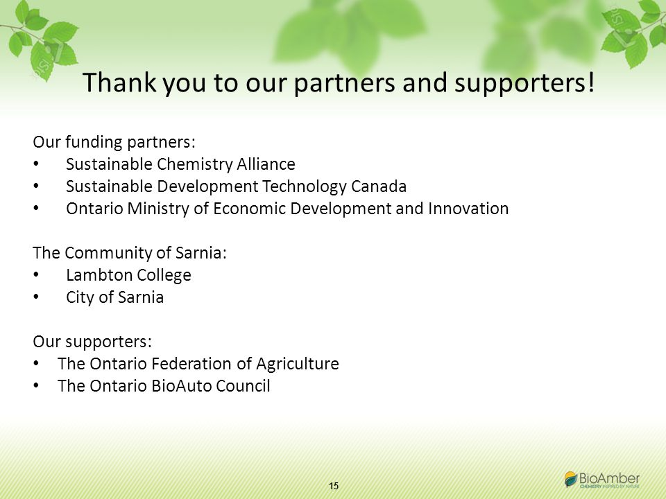 15 Thank you to our partners and supporters.