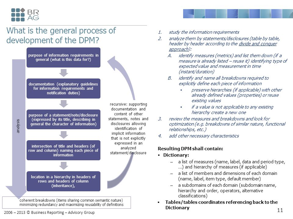 2006 – 2013 © Business Reporting – Advisory Group What is the general process of development of the DPM.