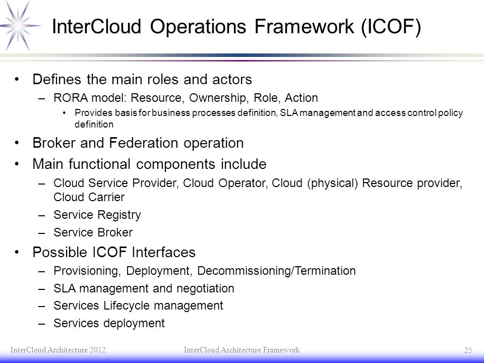 InterCloud Operations Framework (ICOF) Defines the main roles and actors –RORA model: Resource, Ownership, Role, Action Provides basis for business pr