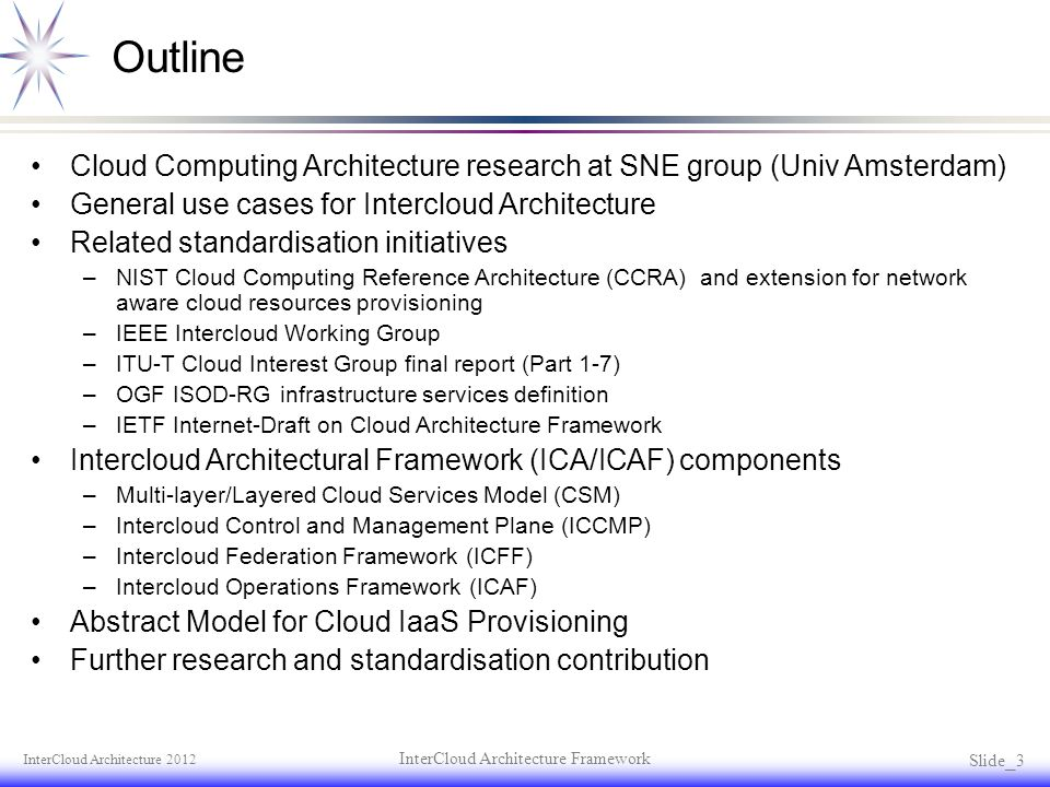 Outline Cloud Computing Architecture research at SNE group (Univ Amsterdam) General use cases for Intercloud Architecture Related standardisation init
