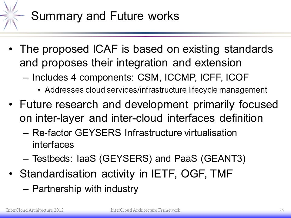 Summary and Future works The proposed ICAF is based on existing standards and proposes their integration and extension –Includes 4 components: CSM, IC