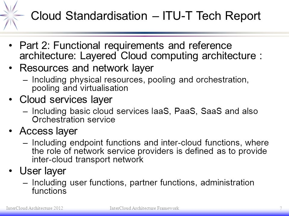 Cloud Standardisation – ITU-T Tech Report Part 2: Functional requirements and reference architecture: Layered Cloud computing architecture : Resources