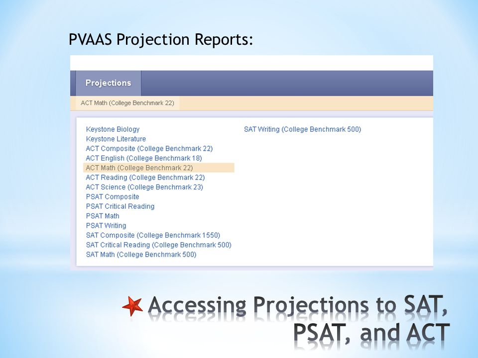 PVAAS Projection Reports:
