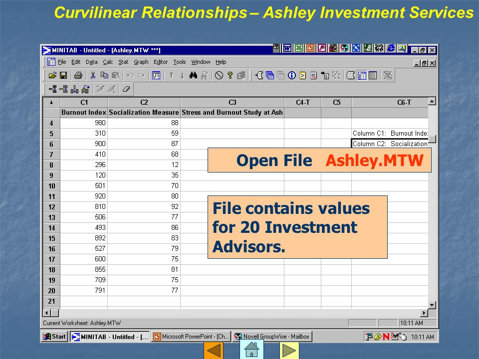 Open File Ashley.MTW File contains values for 20 Investment Advisors.