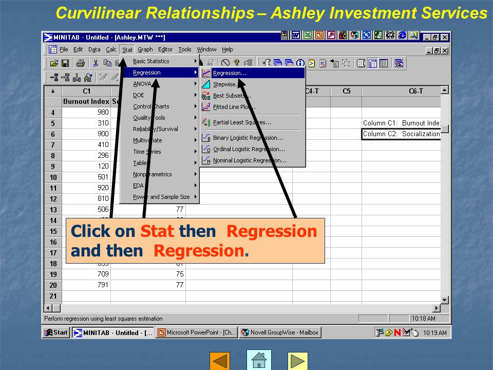 Click on Stat then Regression and then Regression.