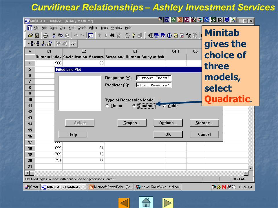 Minitab gives the choice of three models, select Quadratic.