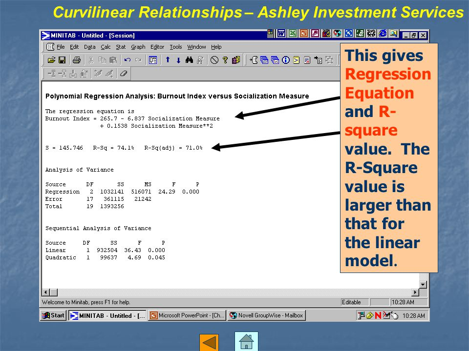 This gives Regression Equation and R- square value.