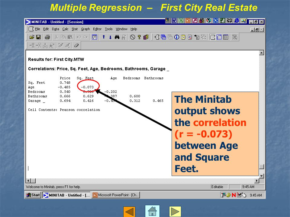 The Minitab output shows the correlation (r = -0.073) between Age and Square Feet.