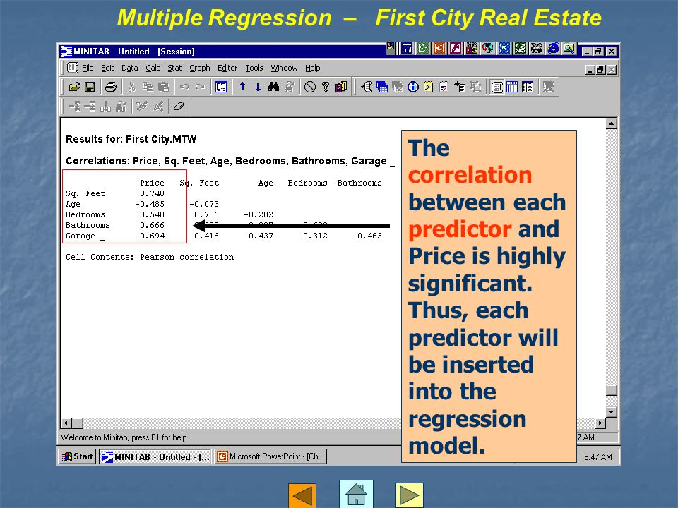 The correlation between each predictor and Price is highly significant. Thus, each predictor will be inserted into the regression model. Multiple Regr