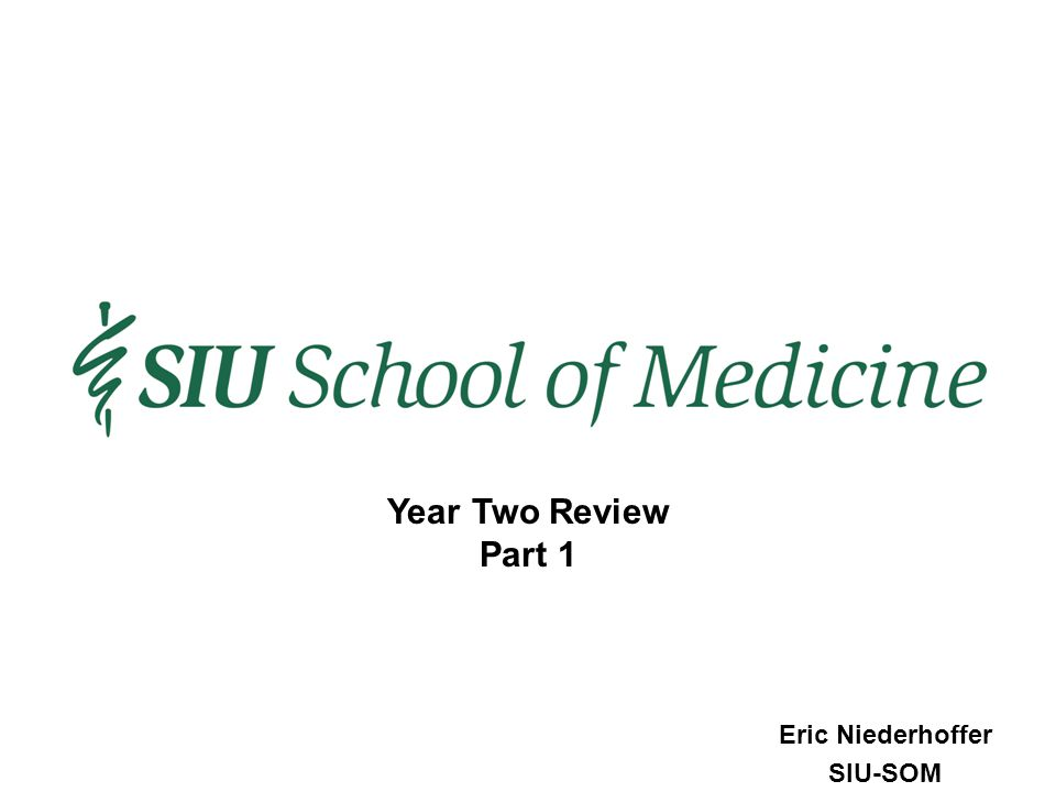 Eric Niederhoffer SIU-SOM Year Two Review Part 1