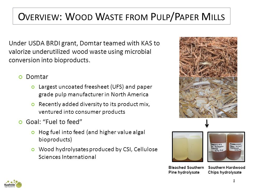 2 O VERVIEW : W OOD W ASTE FROM P ULP /P APER M ILLS Bleached Southern Pine hydrolysate Southern Hardwood Chips hydrolysate Under USDA BRDI grant, Domtar teamed with KAS to valorize underutilized wood waste using microbial conversion into bioproducts.